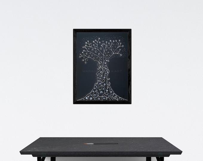 Painting Art Nouveau Tree, Silver Tree Painting, Black Canvas Painting, Framed Painting, Original Tree Painting, Tree, by Maria Marachowska
