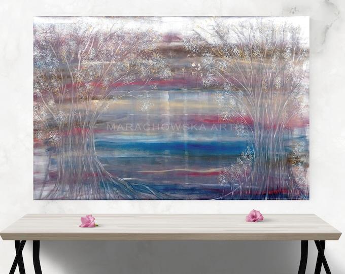 Oil Canvas Painting Seascape - Oil Painting Blue Seascape - Oil Painting Winter Nature - by Maria Marachowska
