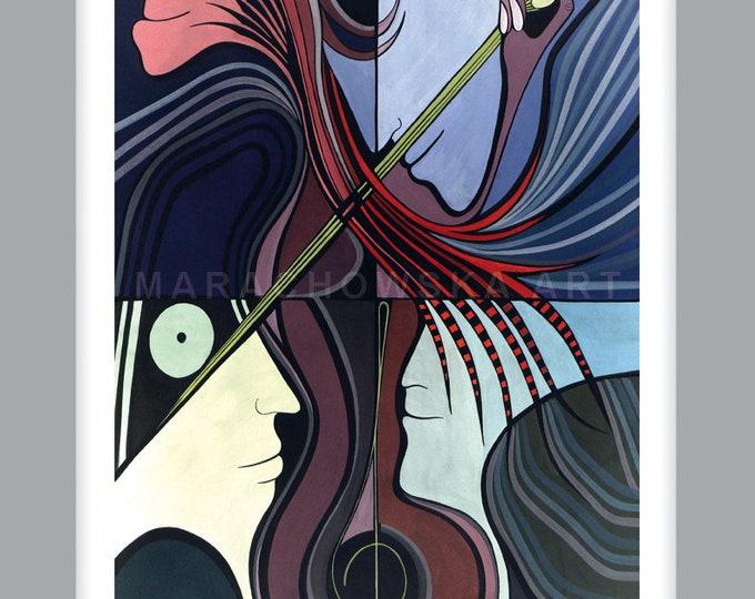 Print mini CELLO, Collectors Card, Print Card, Small Art, Art Card, Music, Beautiful, mini Present, by Maria Marachowska