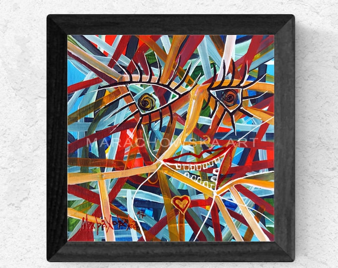 Canvas Painting Abstract Girl, Framed Painting, Abstract Painting Girl, Abstract Painting, Colorful Painting, by Maria Marachowska