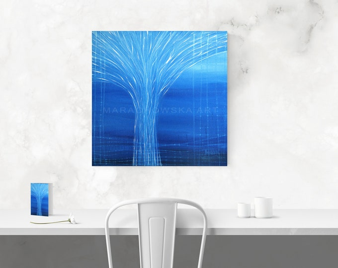 Ocean Tree Painting - Blue Tree Canvas Artwork - Original Blue Tree Canvas Painting - Water Painting - Seascape Painting - Maria Marachowska