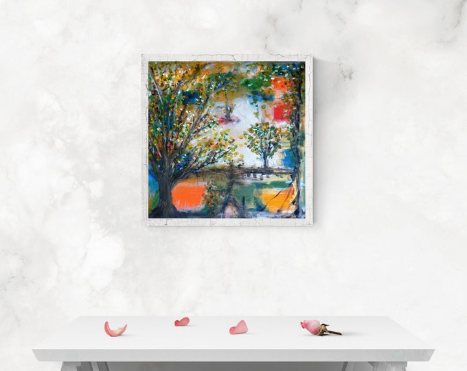 Painting Garden Spring - Canvas Painting Nature Garden - Impressionism Painting Garden - by Maria Marachowska