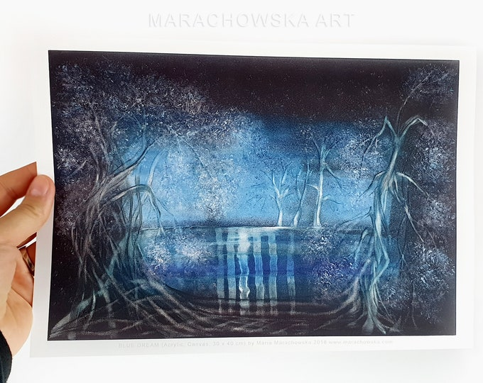 A4 Landscape Poster - Blue Trees Landscape Poster - Water Trees Poster - Seascape Poster - by Maria Marachowska
