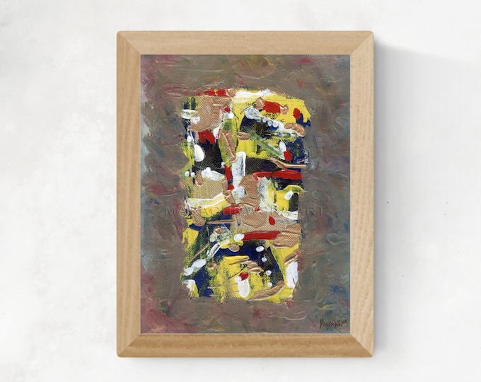 Abstract Painting Red Silver Gold, Framed Painting Abstract, Original Abstract Painting, Canvas Painting Abstract by Maria Marachowska