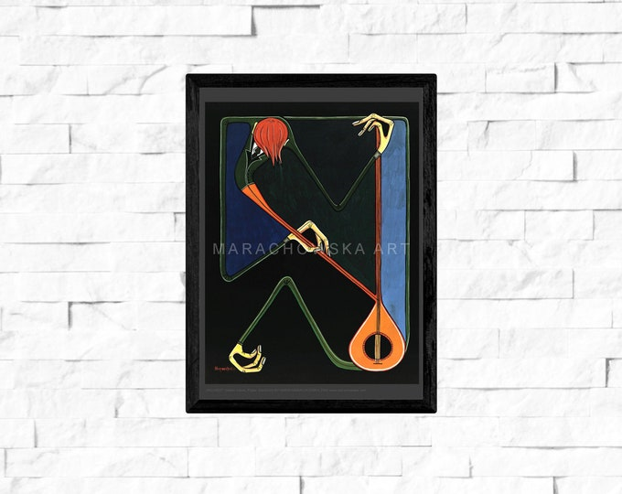 Violinist, Music Poster Instrument, Violin Music, Classical Music, Music Print Poster Orange, Msuic, by Maria Marachowska