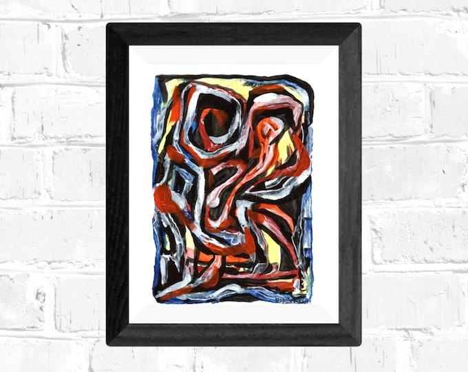 Acrylic Expressive Abstract Painting - Abstract Acrylics Painting on Watercolor Paper - Expressive Paper Painting - by Maria Marachowska