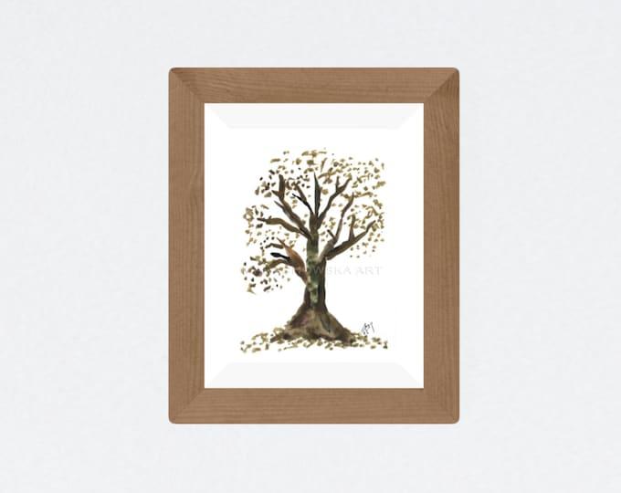 Autumn Tree Painting 1 - Watercolor Tree Painting Green Fine Art - Maria Marachowska