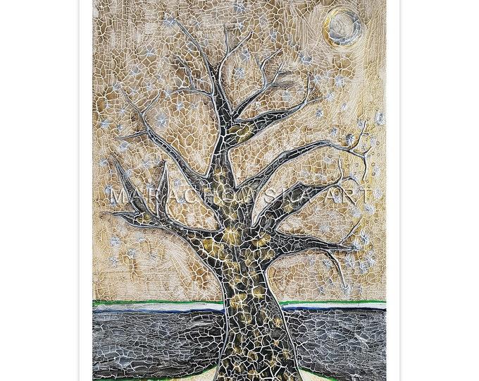 Postcard Landscape Tree, Postcard Nature Tree, Postcard Desert, Postcard Painting Tree, Tree Postcard, by Maria Marachowska
