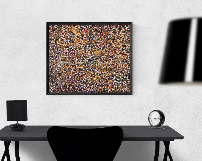 Abstract Colorful Textured Canvas Painting, Abstract Canvas Painting Framed, Expressionism Wall Art, by Maria Marachowska