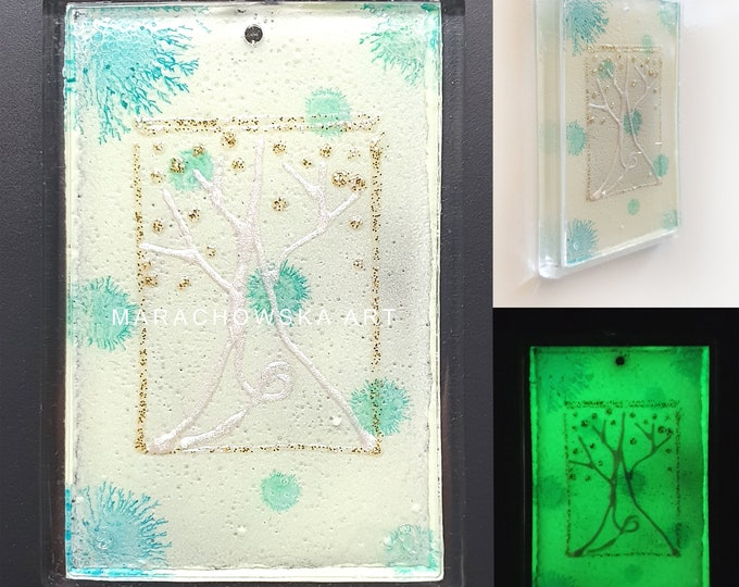 Art Magnet Tree, Magnet Painting, Glowing Magnet, Turquoise Magnet, Glass Magnet Tree, Original Magnet Tree, by Maria Marachowska