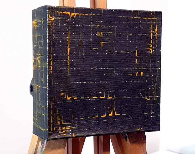 Sculpture Canvas Painting, Abstract Canvas Painting Black Yellow, Canvas Painting Abstract Black Gold, by Maria Marachowska