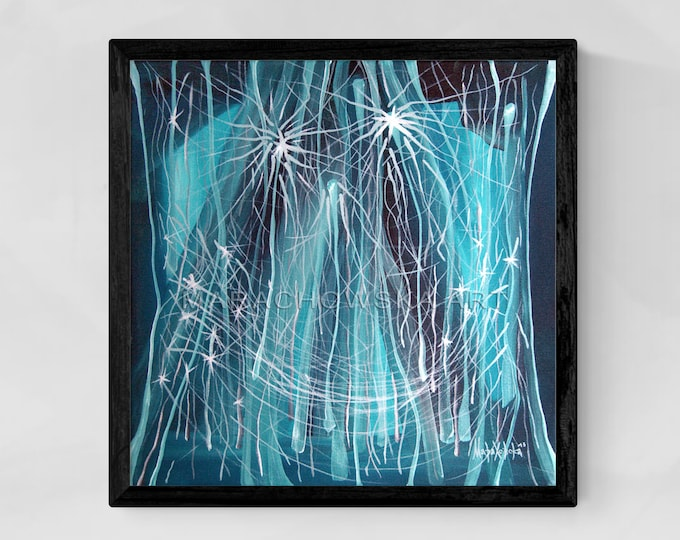 Original Painting Ghost, Canvas Monster Painting, Framed Canvas Animal Painting, Blue Monster Painting, Monster Art, by Maria Marachowska