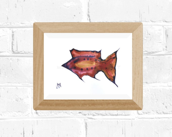 Watercolor Painting Fish - Framed Painting Fish - Fish Watercolor Art- by Maria Marachowska