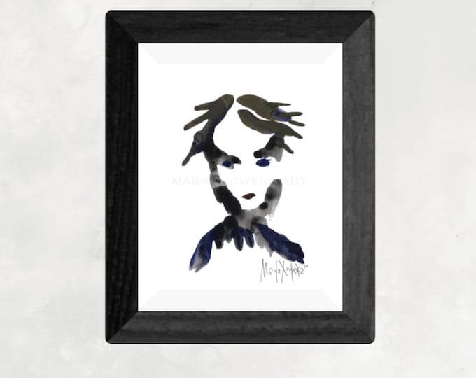 Minimal Portrait Painting - Watercolor Minimal Portrait Painting - Portrait Painting Abstract Face - by Maria Marachowska
