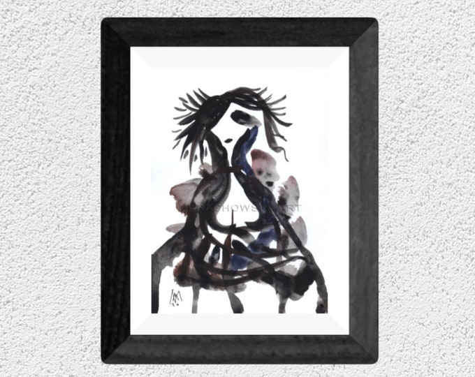 Watercolor Abstract Painting Woman Portrait - Abstract Painting Nude Woman - Woman Abstract Portrait Painting - by Maria Marachowska
