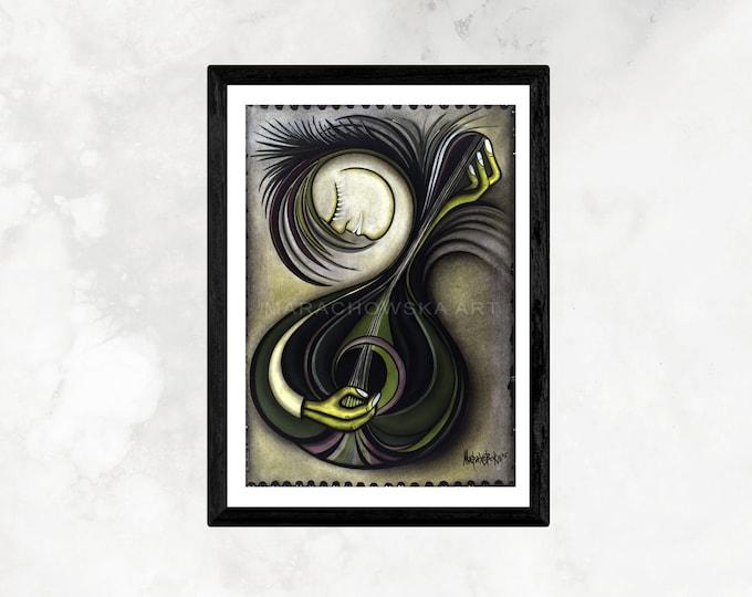 Art Print Musician, Poster Guitar, Guitar Print Musician, Guitar Musician Art, Instrument Musician Art, by Maria Marachowska