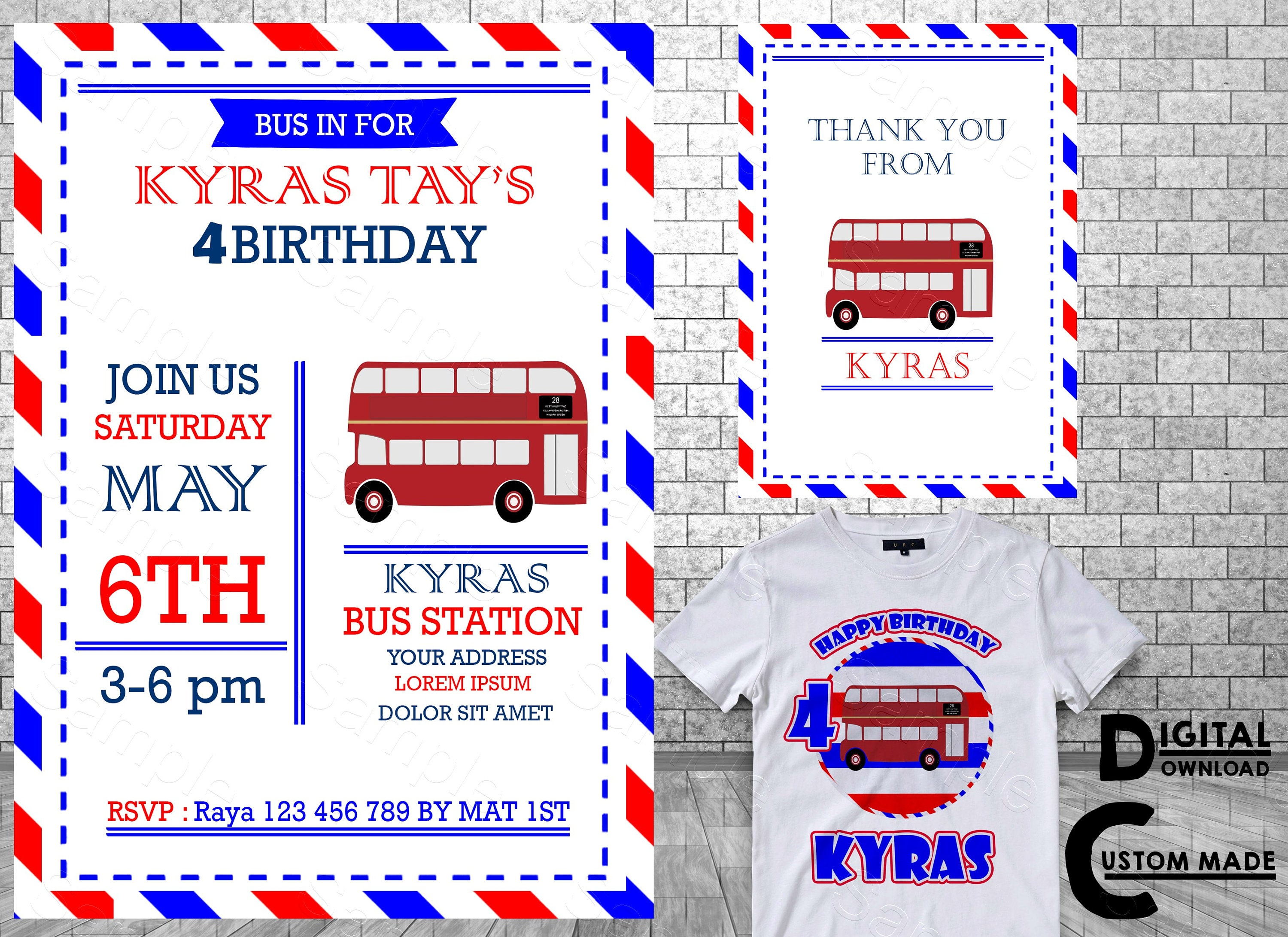 London Double Decker Bus Printable Party Invitations London | Etsy