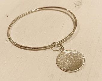 Solid Silver Bangle, Personalised Hammered Charm