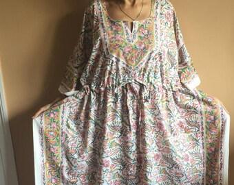 e4fb1aeb6f Cotton Kaftan,Handmade Kaftan,Block print Kaftan,Floral Kaftan,Resort wear, Cotton Sleepwear,Gifts for her,Block print Kaftan,caftan,