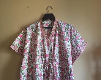 43e1d7cfc6 Handmade Kaftan,Block print Kaftan,Pink floral Kaftan,Pink Caftan,Organic  Kaftan,Resort wear,Beach wear,Cotton Sleep wear,Cotton Kaftan