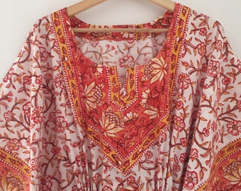 7f7f64a3b5 Coral floral kaftan,Cotton Kaftan,Handmade Kaftan,Caftan,Gifts for her,cotton  floral kaftan,Resort Wear,Cotton sleepwear,Cotton Loungewear,