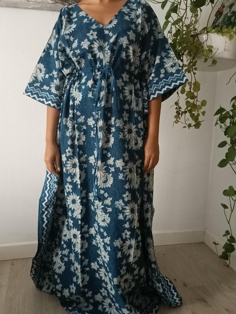 Indigo kaftan,Cotton kaftan,Floral kaftan,Resort wear,Loungewear,Swim cover up,sleepwear,Maxi dress,Plus size dress,One size dress,