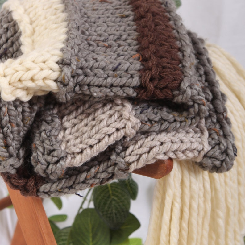 Chunky Hand Made Knitted Throw With Tassles