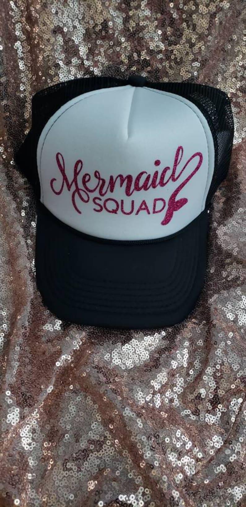 91e50f801bc Mermaid Squad hat/ Mermaid hat/ bachelorette party hat/ bride | Etsy