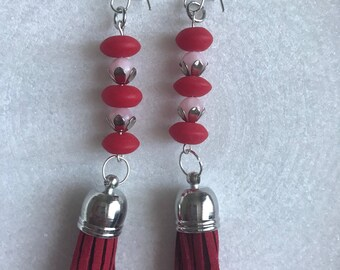 Wine coloured tassle earrings