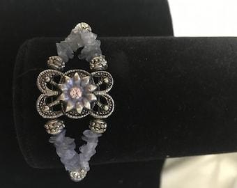 Tanzanite and Swarovski crystal bracelet