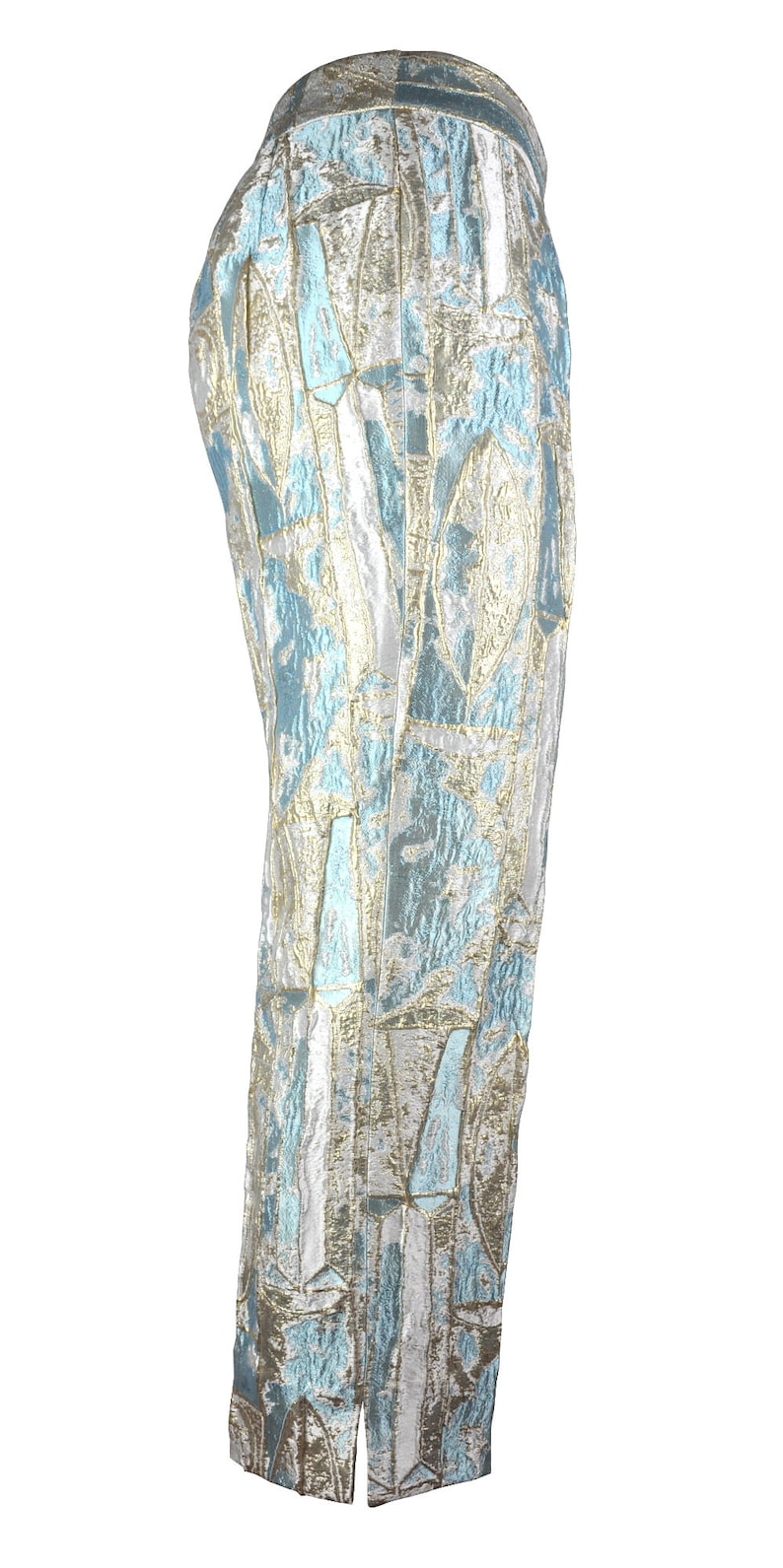 Low Waist Azure Women Pants made of Luxury Brocade Fabric Azure over White and Gold with Silver Reflections