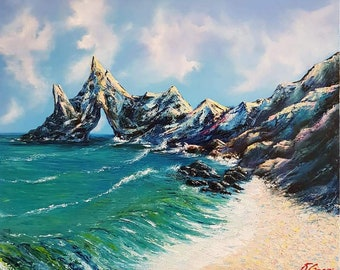 Rocks and the sea.