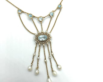 14K Vintage Victorian Blue Topaz Fresh Water Pearl Necklace, Dangle Necklace, Bib Necklace