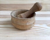 Small wooden mortar for spices and pestle Vintage grinder for spices herbs Ukrainian rustic souvenir Wood carving Kitchen decor