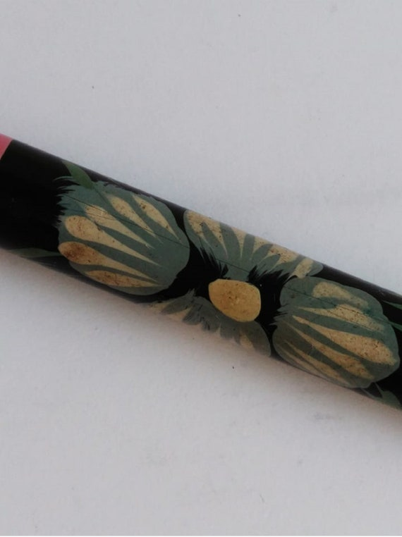 Vintage wooden ballpoint pen Soviet souvenir pen Old stationery thing Antique writing accessories Flower hand painted Collection pen 70 year