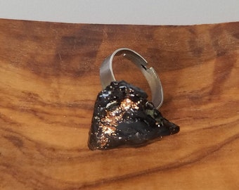 Coal Ring with Rose Gold /  Handmade / Unique / Adjustable / Unisex / Statement