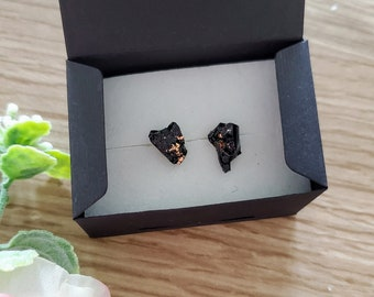 Earrings / Coal Rose Gold / Handmade / Coal mined and handcrafted in Zasavje, Slovenia
