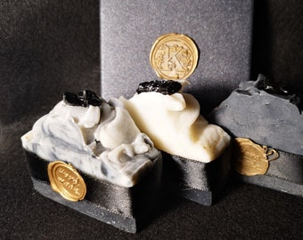 Natural Soap with Coal / Paraben Free / Citronella & Rosemary / Charcoal / Black White
