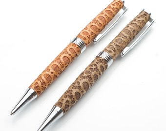 Wooden Pen with Lace Motif, Handmade