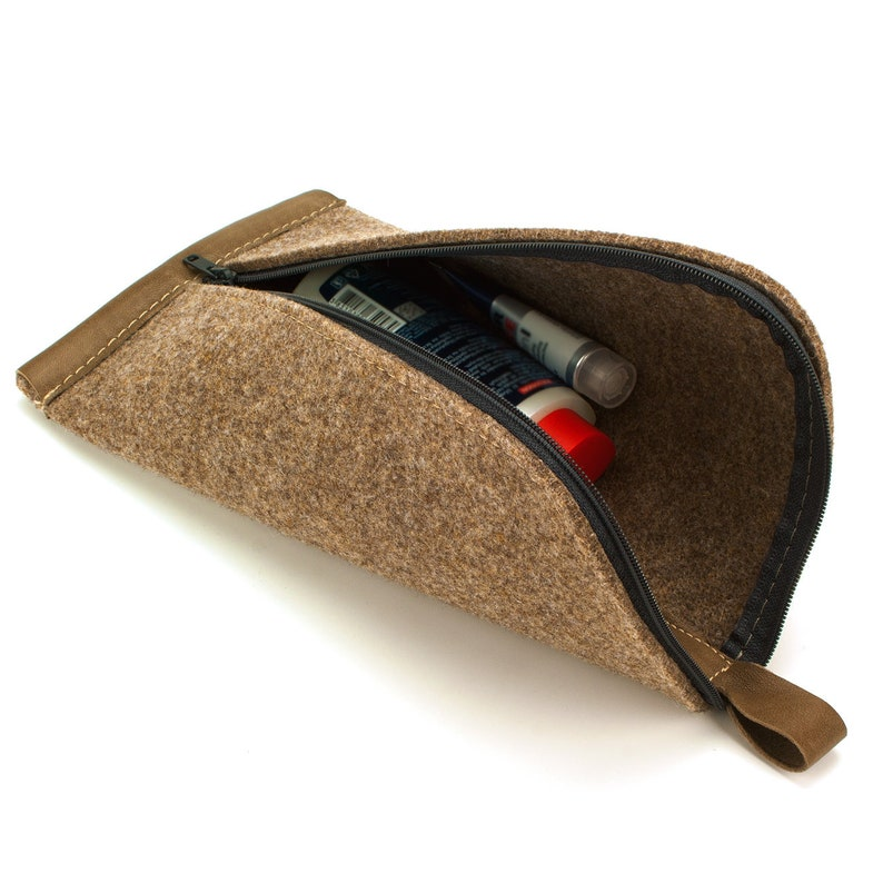 Multi-purpose Felt Wool Pouch  Brown image 0