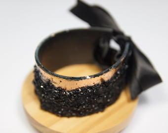 Bracelet with Rose Gold details / Handmade / Statement Bracelet / Adjustable / Coal mined and handcrafted in Zasavje, Slovenia