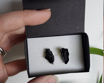 Coal Earrings /  Unique natural earrings / Handmade /  Coal mined and handcrafted in Zasavje, Slovenia