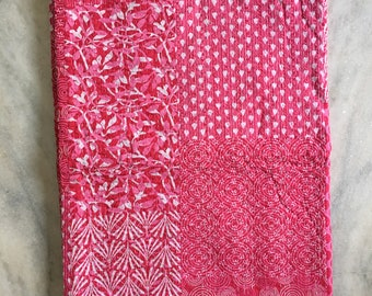 Kantha Bedspread Queen Kantha Quilt Pink Floral Handmade Cotton Hand Stitched Bedding Blanket Throw Gudri Indian Kantha Bedspread Quilt