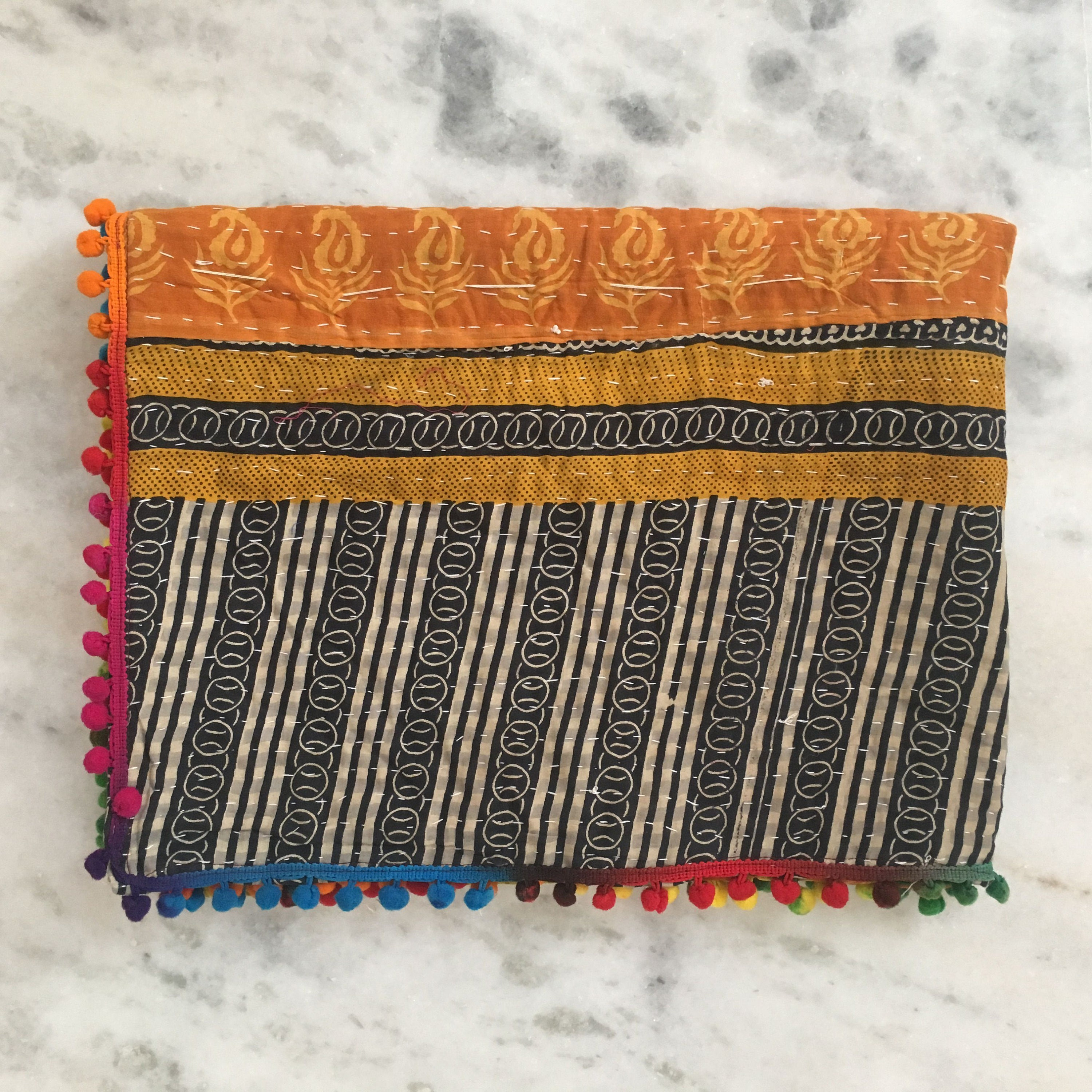 Baby Kantha Quilt Blanket Vintage Throw Handmade Reversible Recycled Cotton Saris Floral Homemade Baby Bedding Indian Pom Pom Quilt