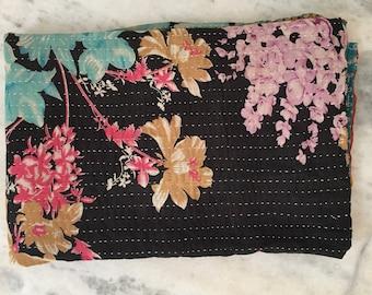Handmade Vintage Kantha Indian Quilt Kantha Bedding Indian Floral Cotton Recycled Sari Ralli Handstitched Vintage Kantha Quilt