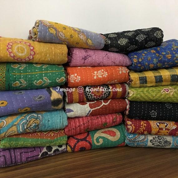 Vintage Kantha Quilt Throw Handmade Indian Ralli Gudri Wholesale Quilt Blanket