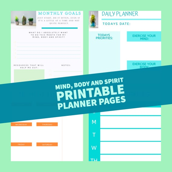 Printable daily monthly goal planner schedule to do list workout menu schedule desk calendar planner daily to do list printable digital DIY