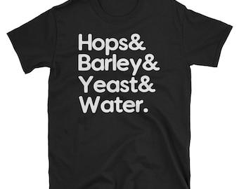 Brewer Shirt - Hops, Barley, Yeast & Water Brewing Shirt - Beer Geek TShirt - Brewer Tee Gift Gifts - Beer Brew Dad Shirt - Brewer Shirts