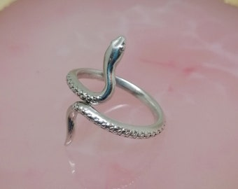Silver snake ring, Adjustable serpent ring, silver boho ring, stackable silver ring bohemian jewelry gift for her
