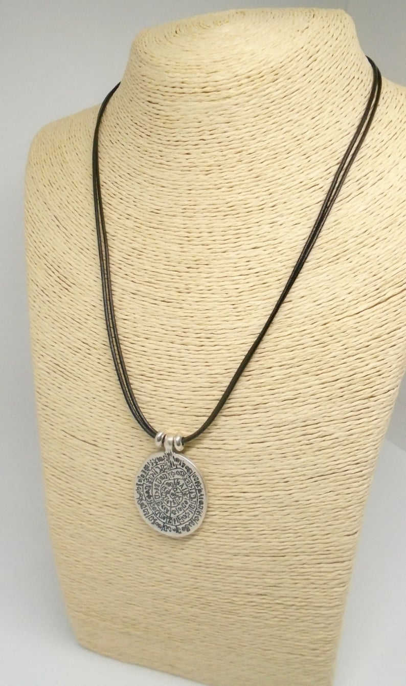 Silver Phaistos disc pendant necklace ancient greek coin leather necklace bohemian jewelry silver ethnic unisex necklace